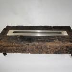 Lareira Dormente - Largura: 70 cm | Altura: 50 cm | Profundidade: 20 cm | Material: Dormente, inox e vidro temperado