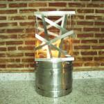 Queimador Barril - Largura: 45 cm | Altura: 45 cm | Profundidade: 70 cm | Material: Inox e vidro