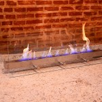 Lareira de Chão - Largura: 120 cm | Altura: 40 cm | Profundidade: 30 cm | Material: Inox e vidro temperado