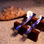 Lareira Gêmeas - Largura: 70 cm | Altura: 60 cm | Profundidade: 30 cm | Material: Madeira de demolição e inox